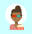 african american female wearing 3d glasses with vector image vector image