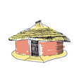 african tribal hut hand drawn icon vector image