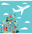 airplane with summer symbols vector image vector image