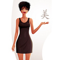 Attractive tanned standing girl showing at empty vector image vector image