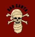 bad santa santa claus skull design element for vector image vector image