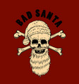 bad santa santa claus skull design element vector image