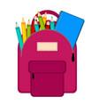 bag with school supplies vector image