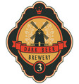 beer label with windmill laurel wreath and ribbon vector image