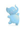 blue elephant funny cute bacharacter for kids vector image vector image