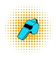 Blue whistle icon comics style vector image vector image