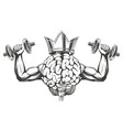 brain and crown with strong hands training vector image vector image