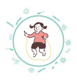carefree girl jumps with a skipping rope her body vector image vector image