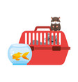 cat on cage hamster and goldfish vector image vector image