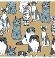 Cats pets animal group gray seamless pattern vector image vector image