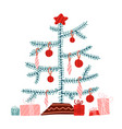 christmas tree flat wrapped vector image