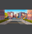 city street building urban traffic cars on road vector image