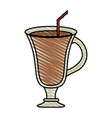 color crayon stripe cartoon glass cup of cappucino vector image vector image