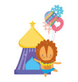 cute lion circus with balloons helium vector image vector image