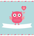 Cute owl Valentines Day card vector image vector image