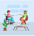 disabled girl in wheelchair vector image vector image