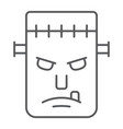 frankenstein thin line icon monster and halloween vector image vector image