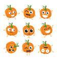 funny pumpkin - isolated cartoon emoticons vector image vector image