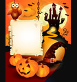 halloween background with sign in orange vector image