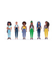happy casual women standing together smiling vector image