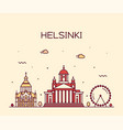 helsinki skyline finland city linear style vector image vector image
