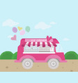 ice cream bus flat style vector image vector image