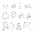 Line icons set of women s Accessories vector image