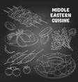 middle eastern cuisine arabian dishes vector image