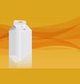 milk cardboard packaging on yellow background vector image vector image