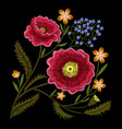 peony embroidery vector image vector image
