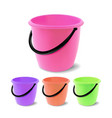 plastic bucket bucketful different colors vector image