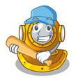playing baseball helmet diving in mascot shape vector image vector image