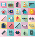 police equipment icons set flat style vector image