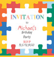 puzzle pieces border frame square kids invitation vector image