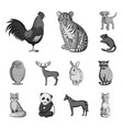 realistic animals monochrome icons in set vector image