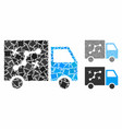 route van mosaic icon tuberous items vector image vector image