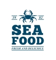 sea food frame crab isolated icon vector image vector image