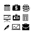 set black and white business icons vector image vector image