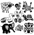 set black white pictures for kids vector image vector image