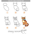 step by step drawing cat vector image vector image