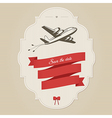 Vintage wedding invitation with retro aircraft vector image vector image