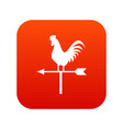 weather vane with cock icon digital red vector image vector image
