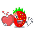 with heart fresh ripe strawberry isolated on vector image