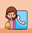 woman operator contact book and bell customer vector image