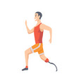young guy running on prosthesis man vector image