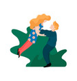 young man holding his girlfriend by waist raising vector image vector image