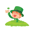 Leprechaun Found a Four-Leaf Clover vector image