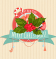 A Christmas banner with holly berries bullfinch vector image