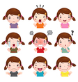 Cute girl faces showing different emotions vector image