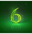 6 Green glowing number six vector image